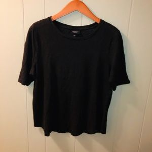 Who What Wear | 100% Linen black cropped tee